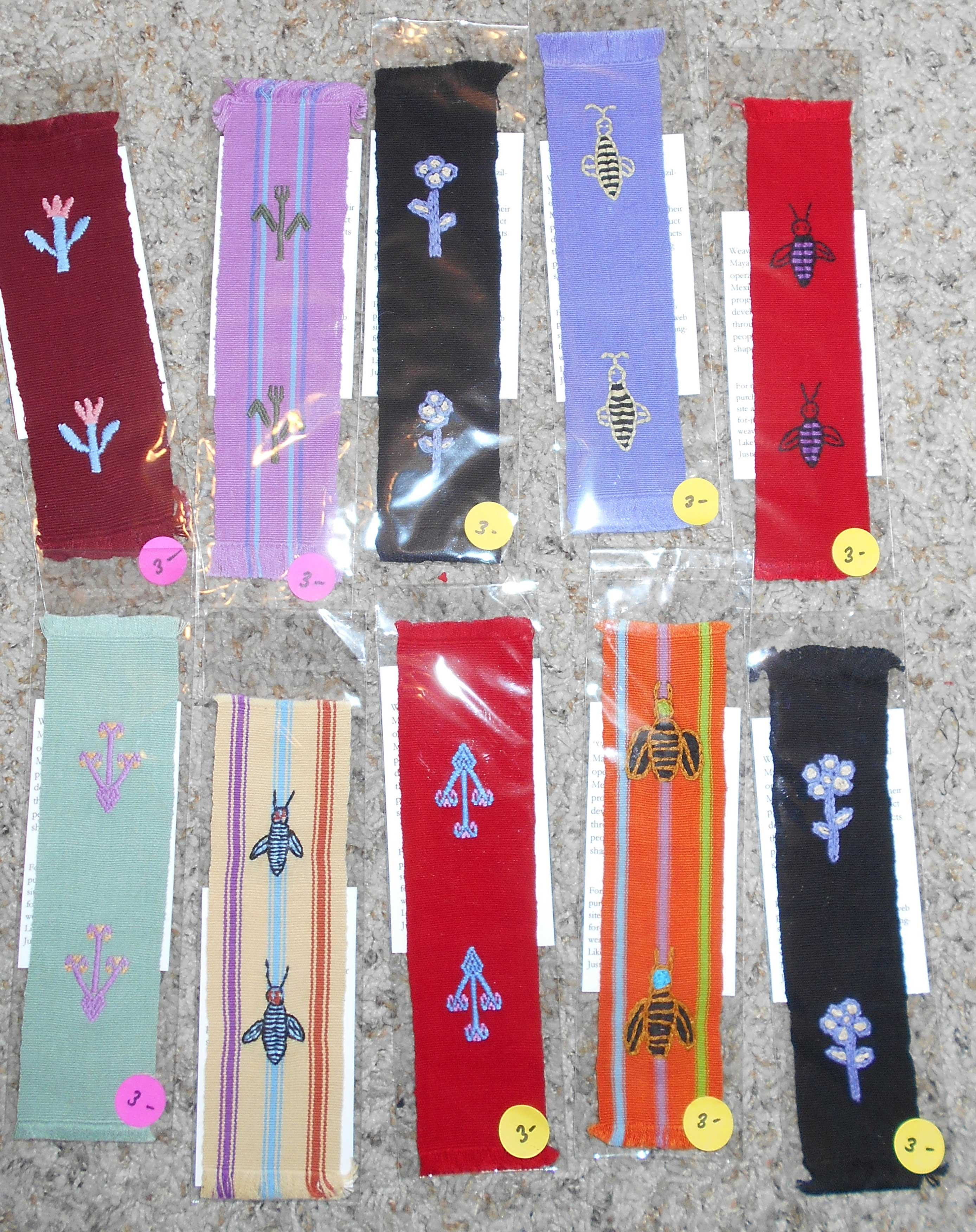 Assortment of 4 book marks woven on a back-strap loom in a variety of colors and designs - $15 includes postage.